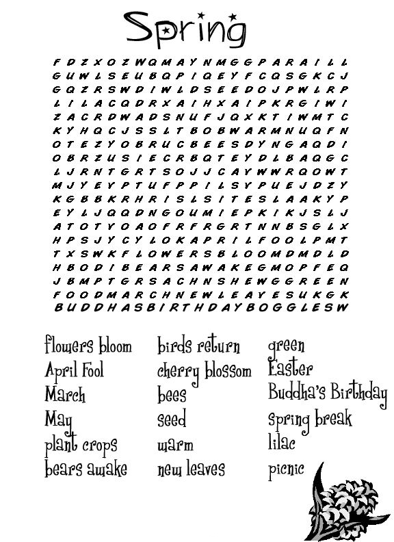 Free Spring Word Search Puzzles