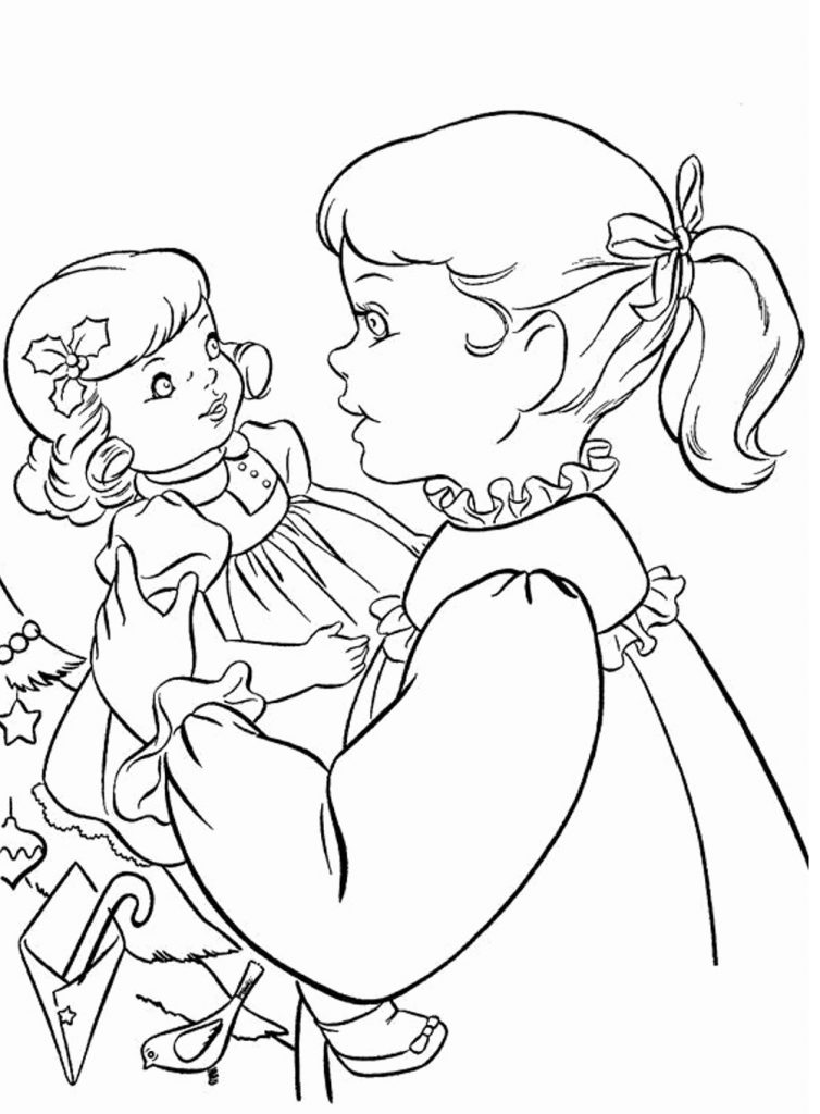 Girl and Doll Coloring Page