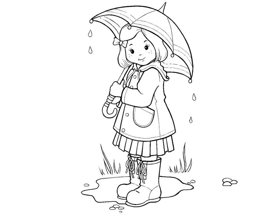 Girl in the Rain Umbrella Coloring Page