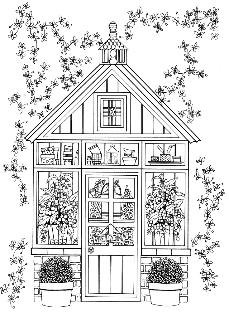 Greenhouse Cute Coloring Pages for Adults