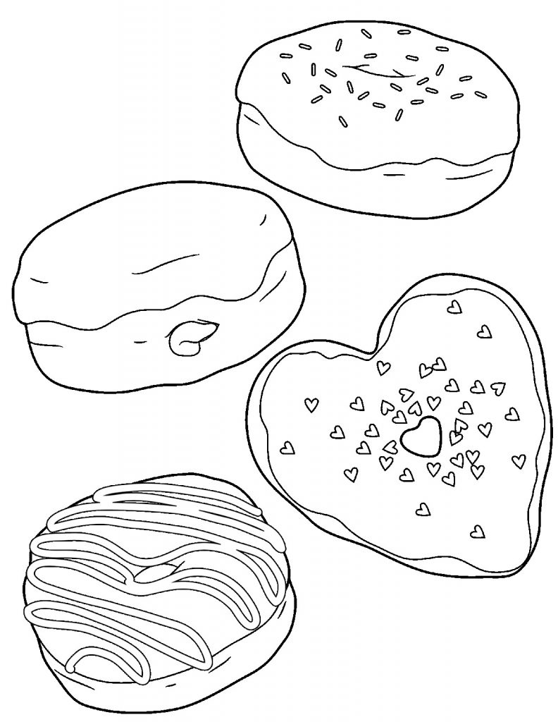 Heart Donut Coloring Page