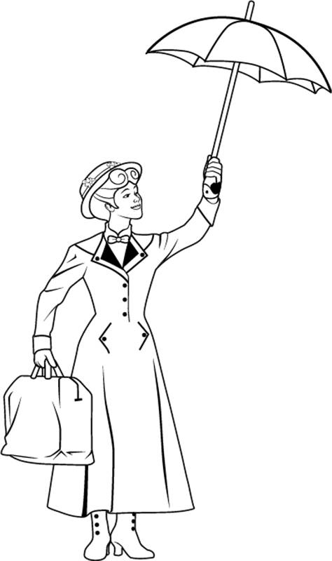 Mary Poppins Umbrella Coloring Page