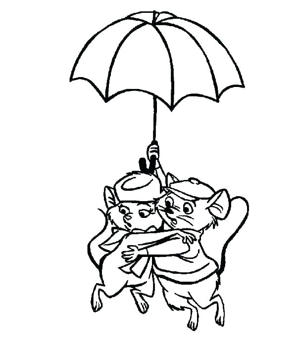 Mice Under Umbrella Coloring Pages