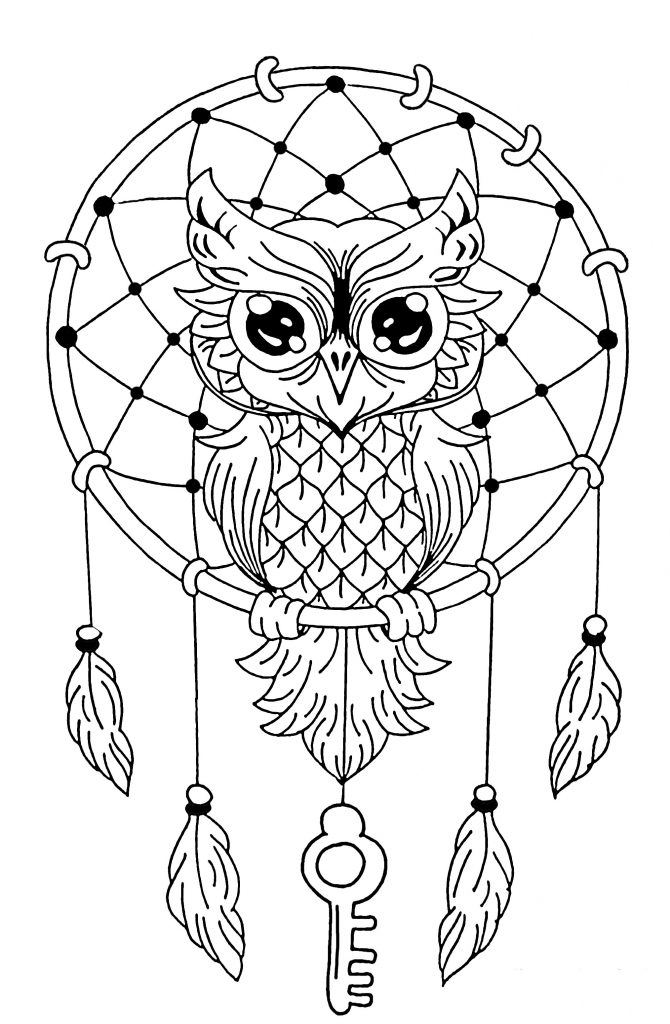Owl Dream Catcher Coloring Page