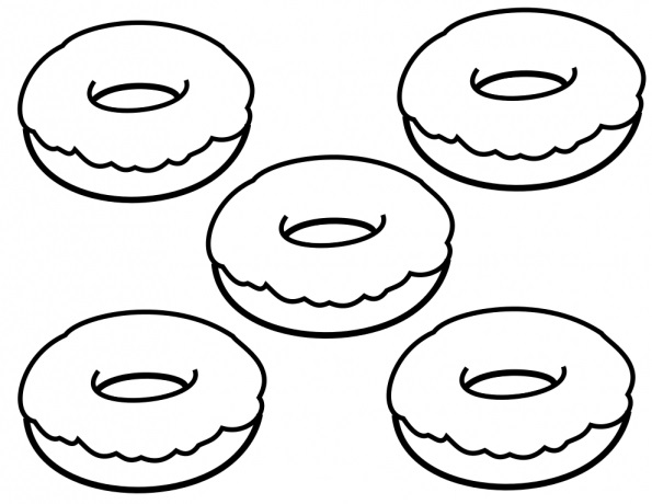 Simple Donuts Coloring Page