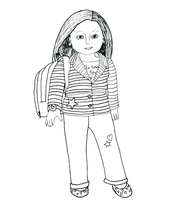 Sketch American Girl Coloring Page