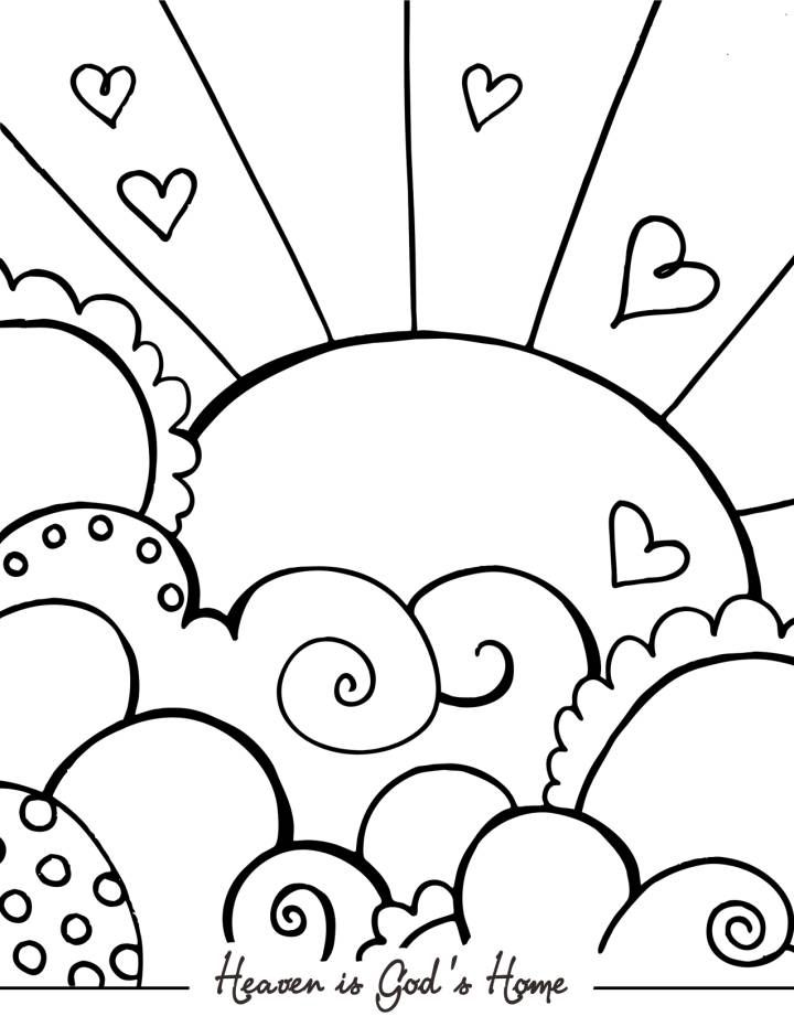 Sun Hearts and Heaven - Cute Coloring Pages for Adults