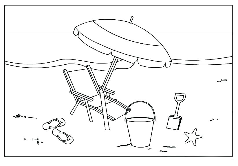 Umbrella at the Beach Coloring Pages