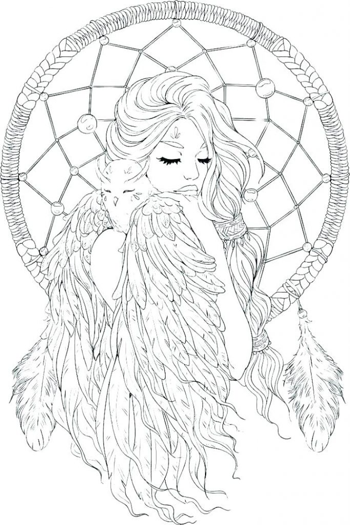 Woman - Dream Catcher Coloring Pages