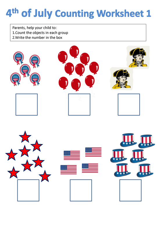 4th of July Counting Holiday Worksheet