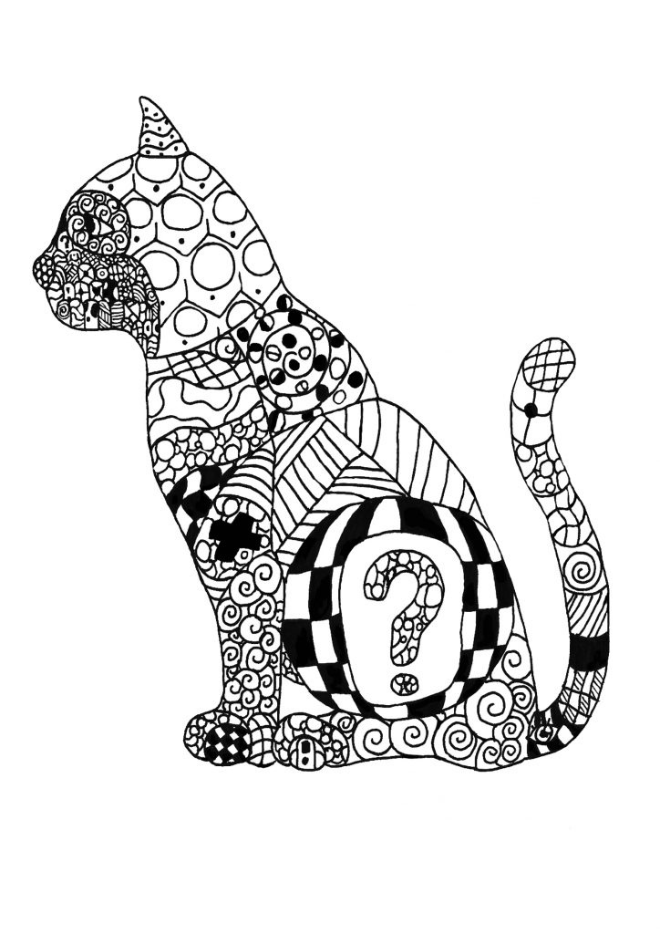 Adult Coloring Pages - Cat