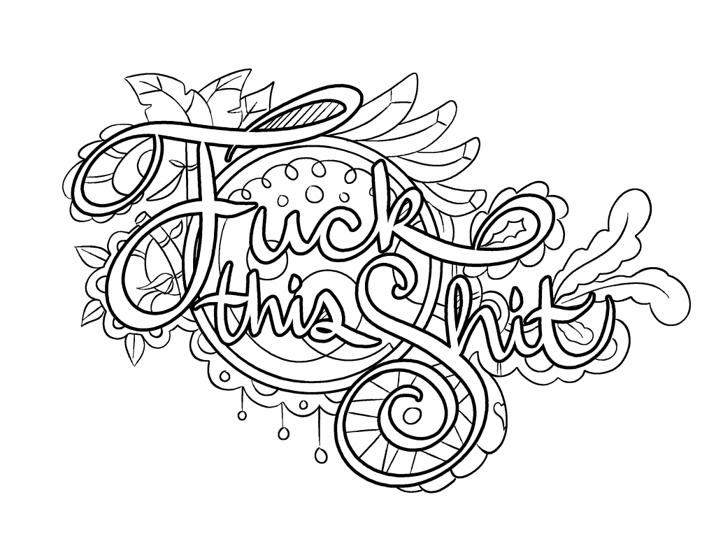 Lively image within printable swear word coloring pages
