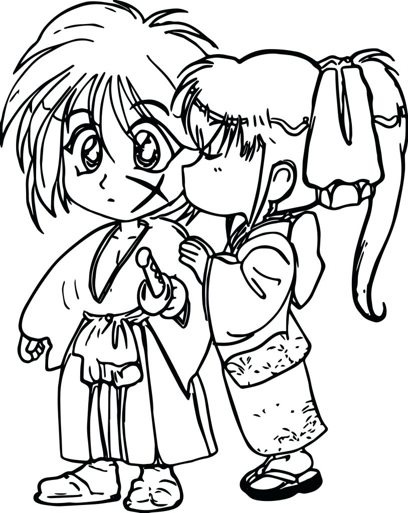 Anime Love Coloring Page