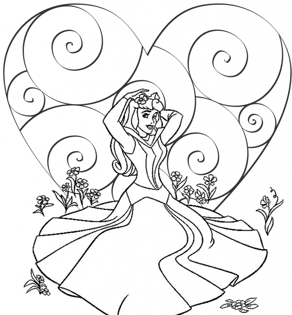 Aurora Valentines Disney Coloring Pages