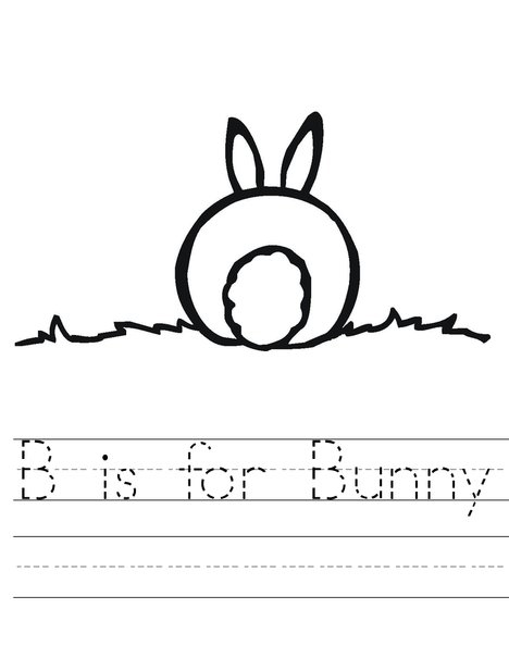 B is for Easter Bunny Trace Worksheet