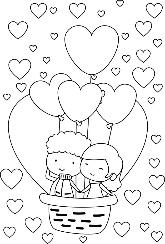 Balloon - Love Coloring Page
