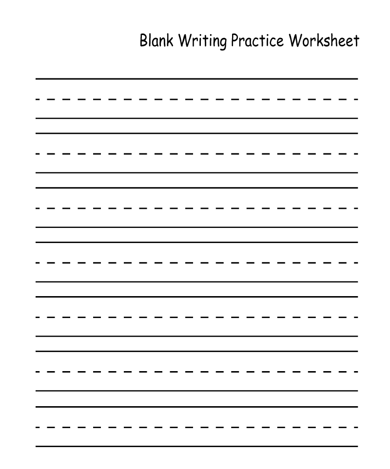 Blank Kindergarten Handwriting Worksheets