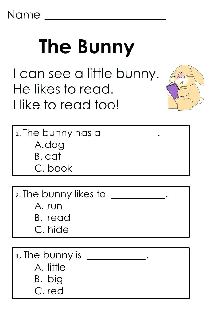 Bunny Kindergarten English Worksheets
