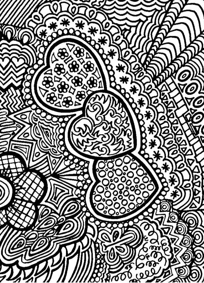 Complex Heart Coloring Pages for Adults