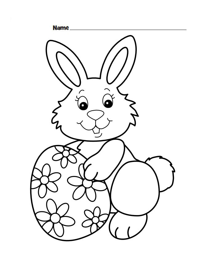 Easter Bunny Coloring Sheet for Preschoolers