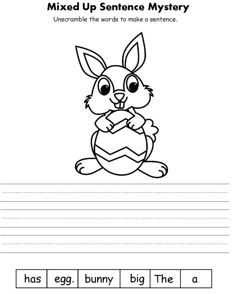 Easter Bunny Word Scramble for Kindergarten