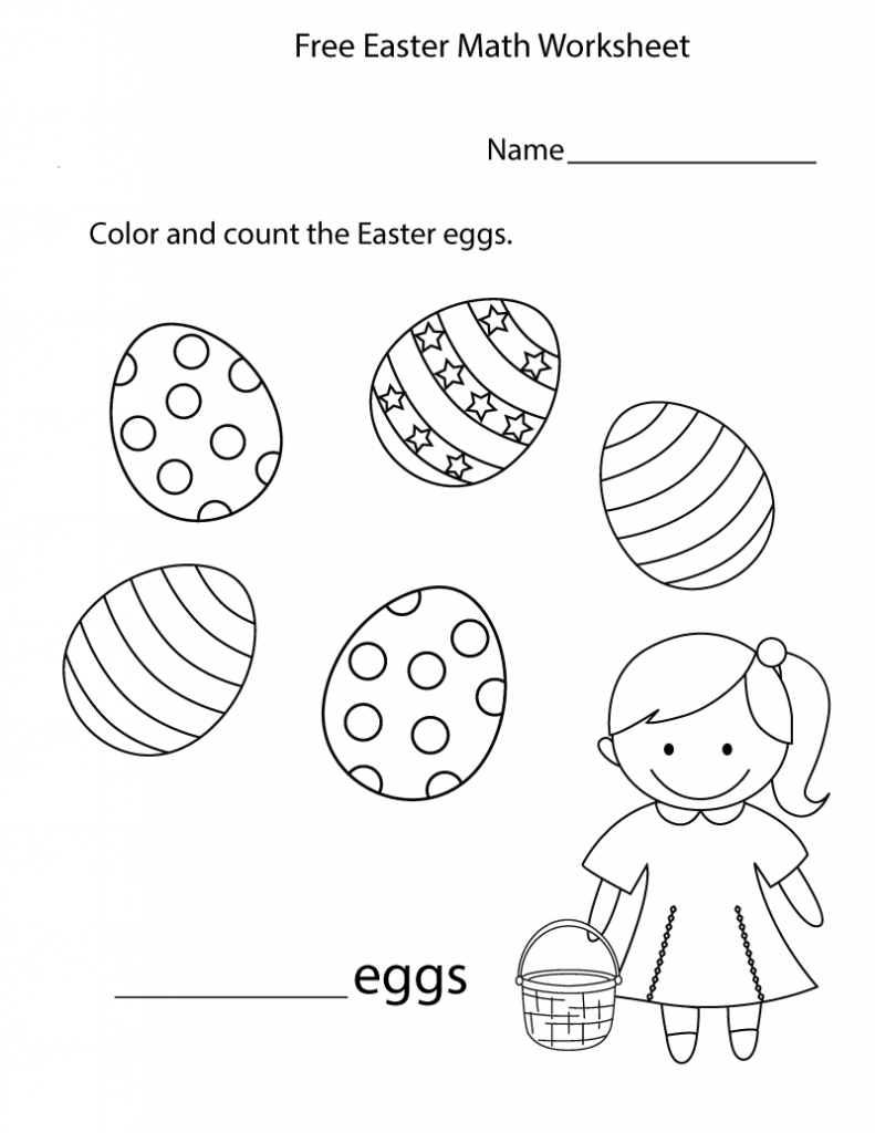 Easter Color and Count Preschool Worksheet