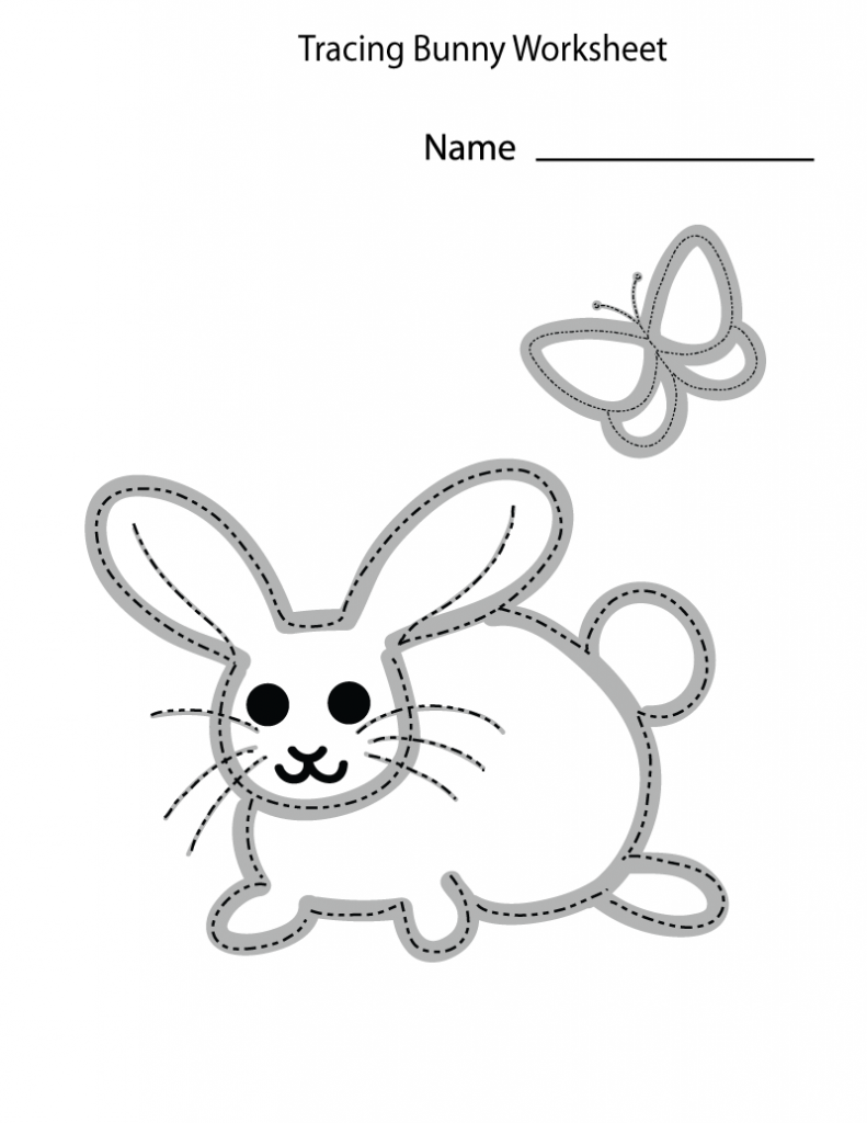 Easter Preschool Bunny Trace Worksheets
