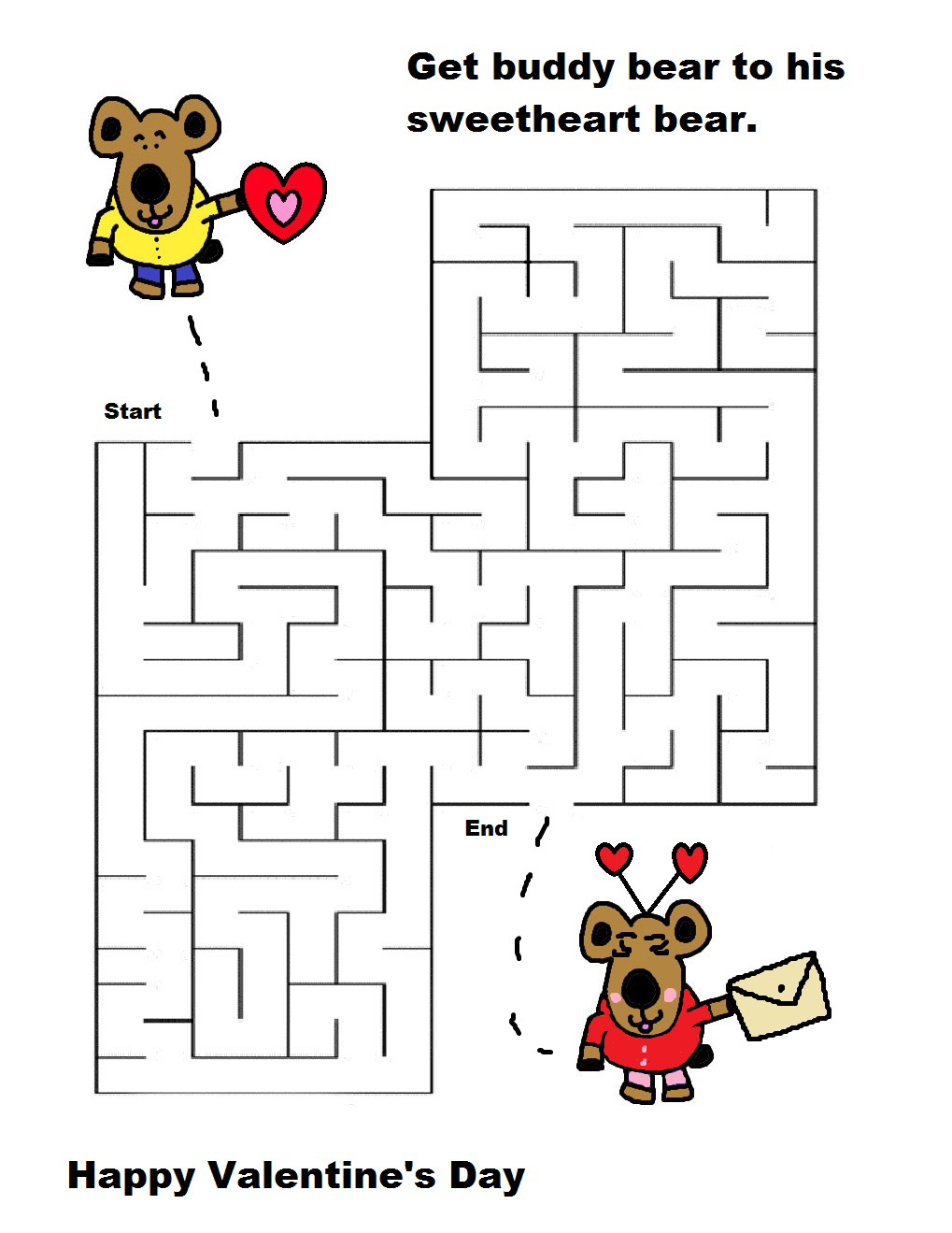 Valentines Mazes Best Coloring Pages For Kids