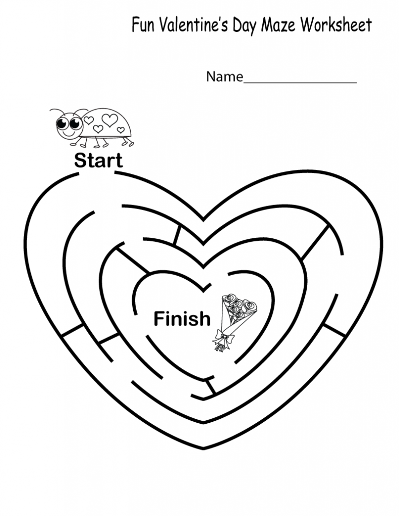 Easy Valentines Maze Worksheet