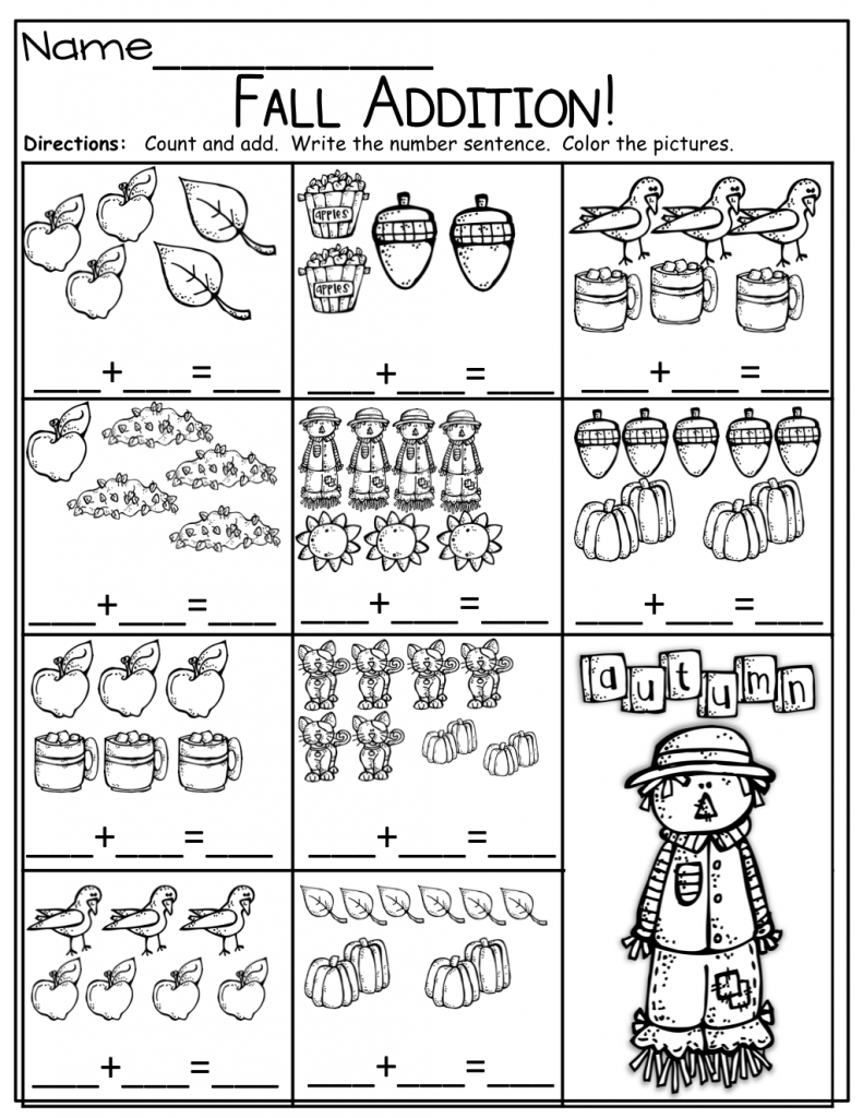 Fall Addition Kindergarten Math Worksheets