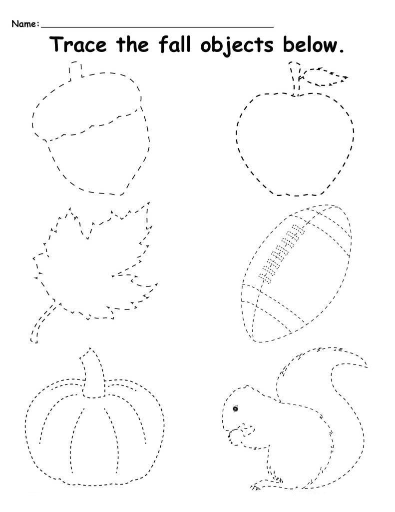 Fall Preschool Tracing Worksheets