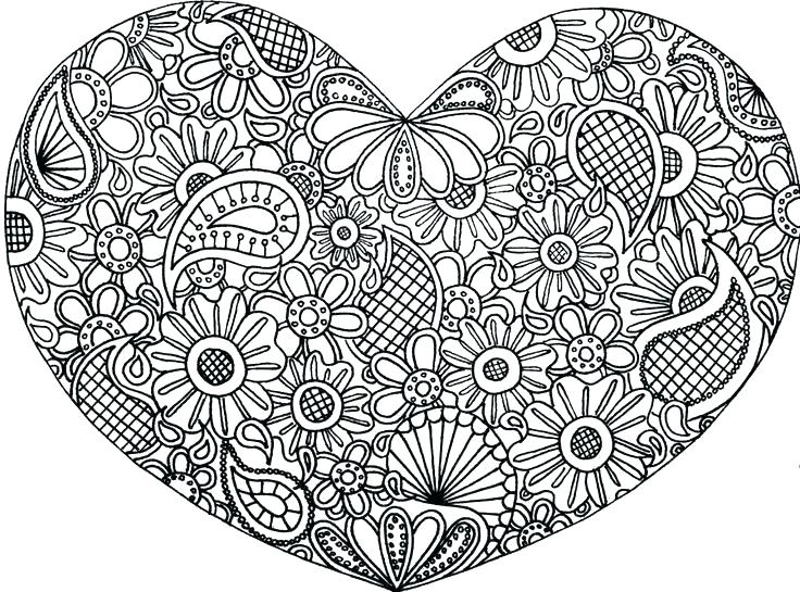 Floral Heart Coloring Pages for Adults