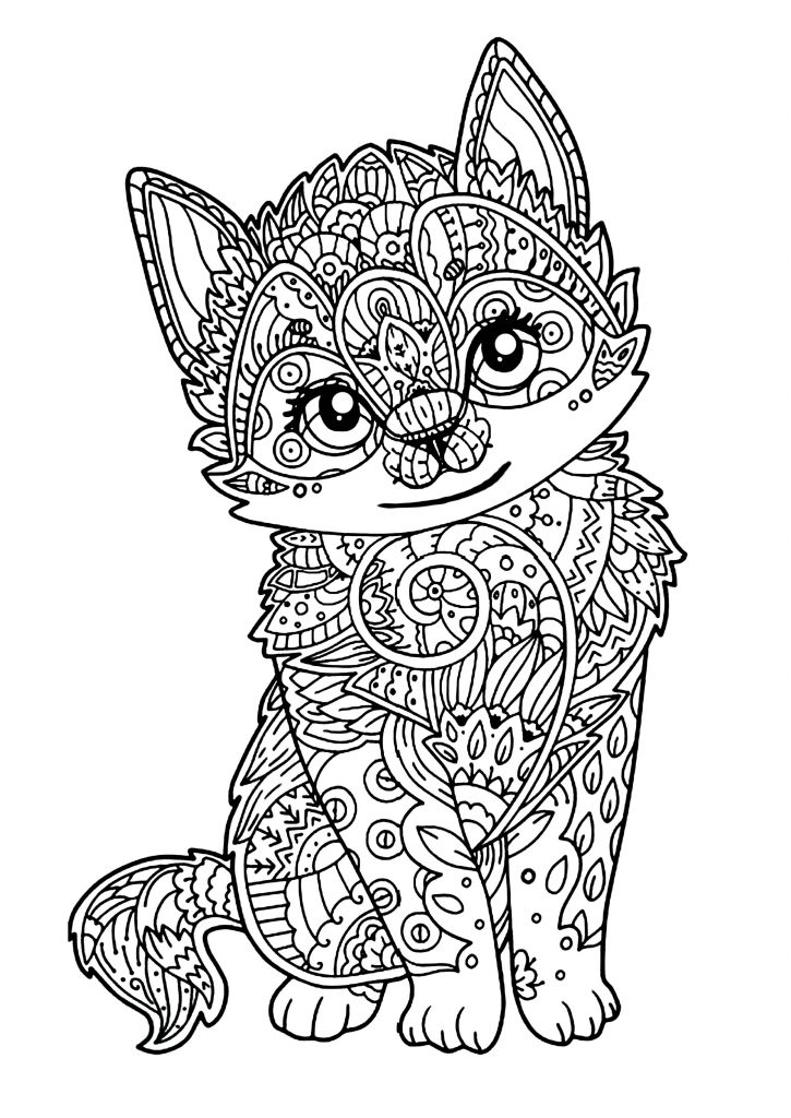Free Printable Cat Coloring Pages for Adults
