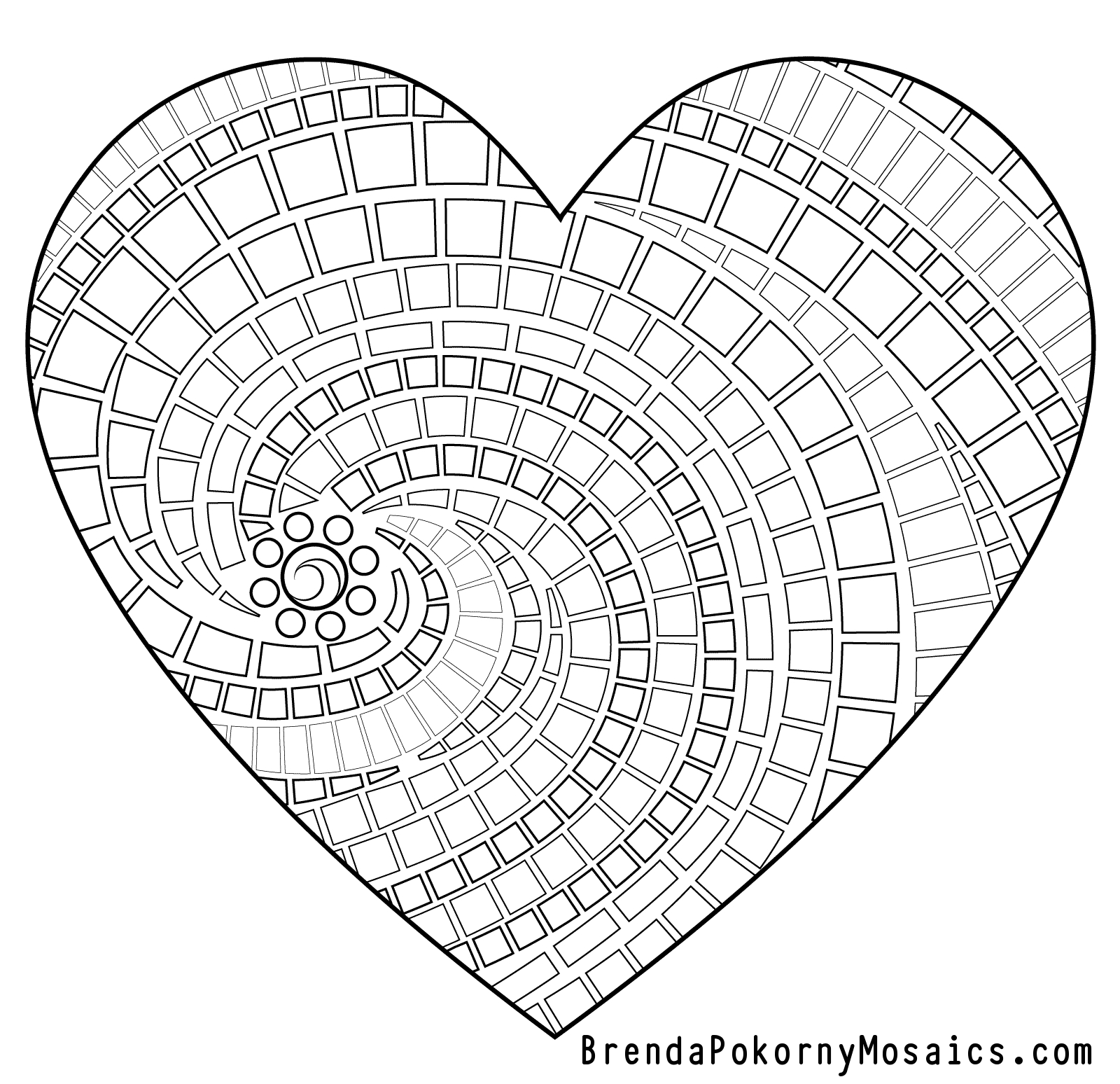 Geometric Heart Shape Coloring Page By Brenda Pokorny