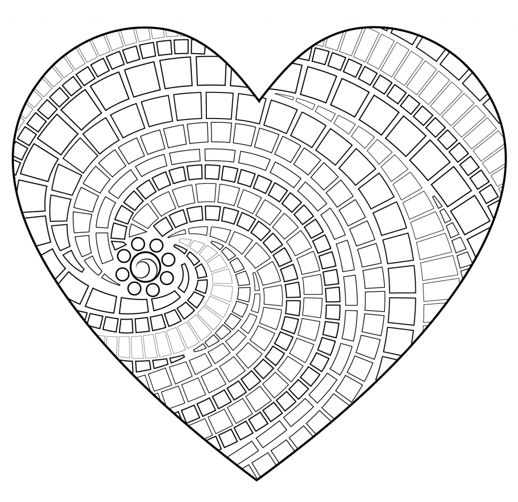 Geometric Heart Shape Coloring Pages for Adults