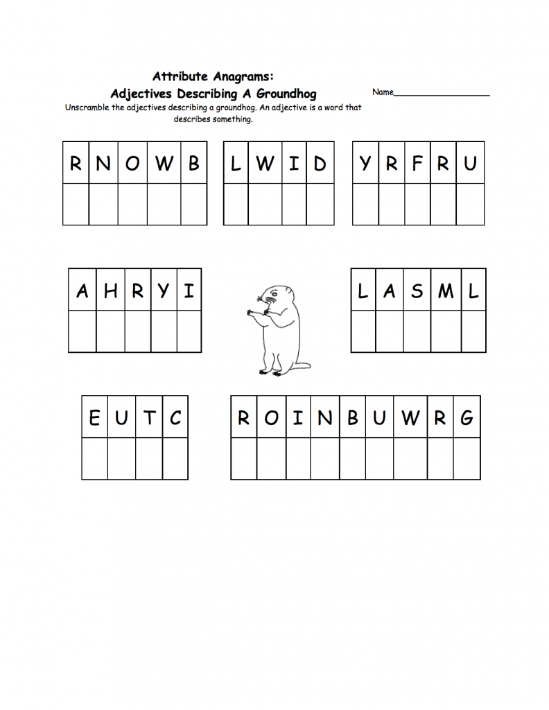 Groundhog Day Abjective Worksheets