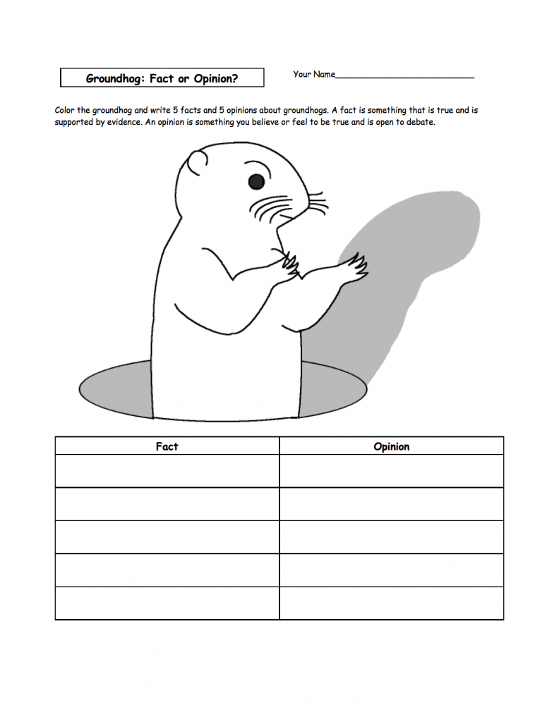 Groundhog Shadow Worksheets