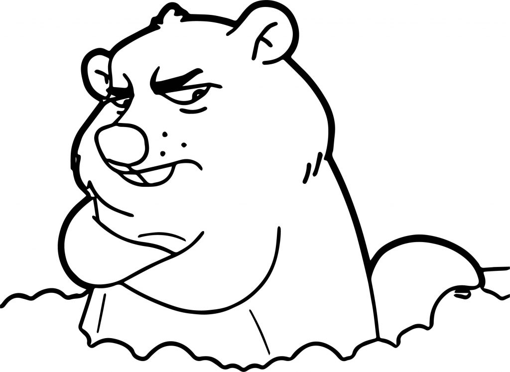 Grumpy Groundhog Coloring Page