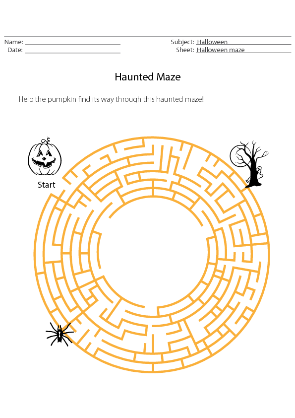 Halloween Maze Holiday Worksheet