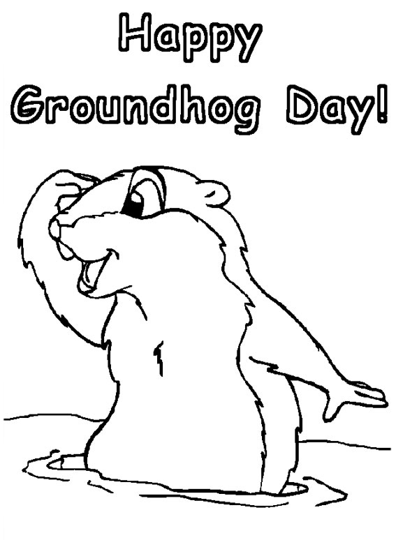 Happy Groundhog Day Coloring Worksheets
