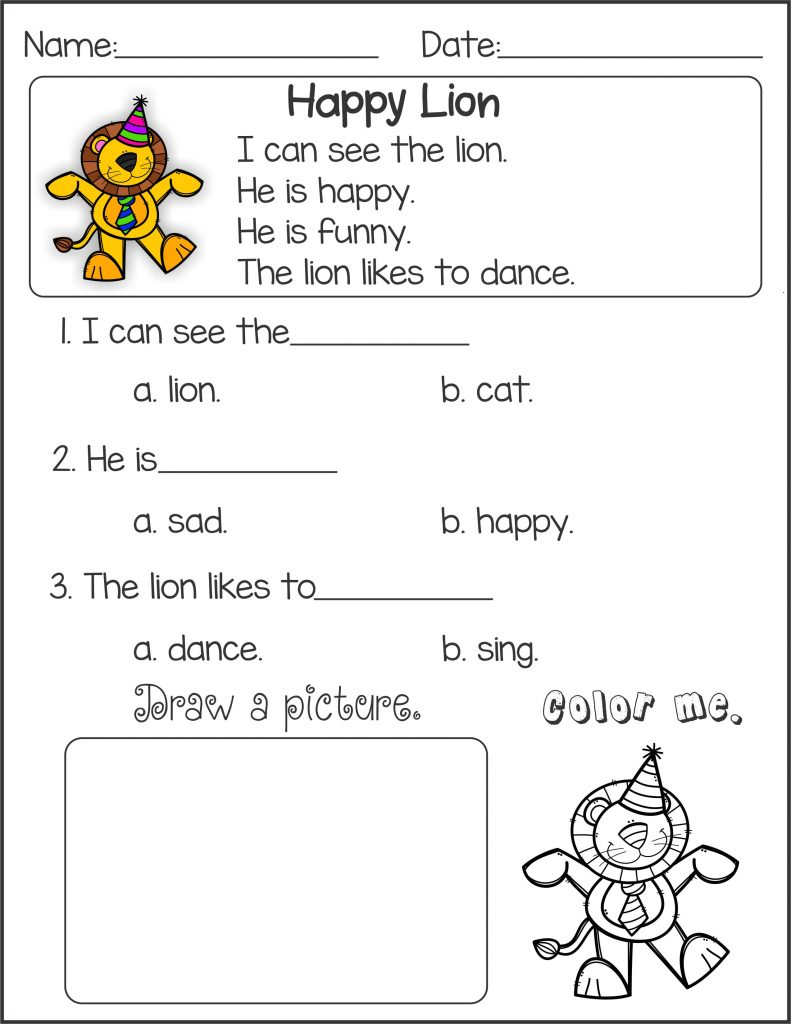 Happy Lion - Kindergarten English Worksheets