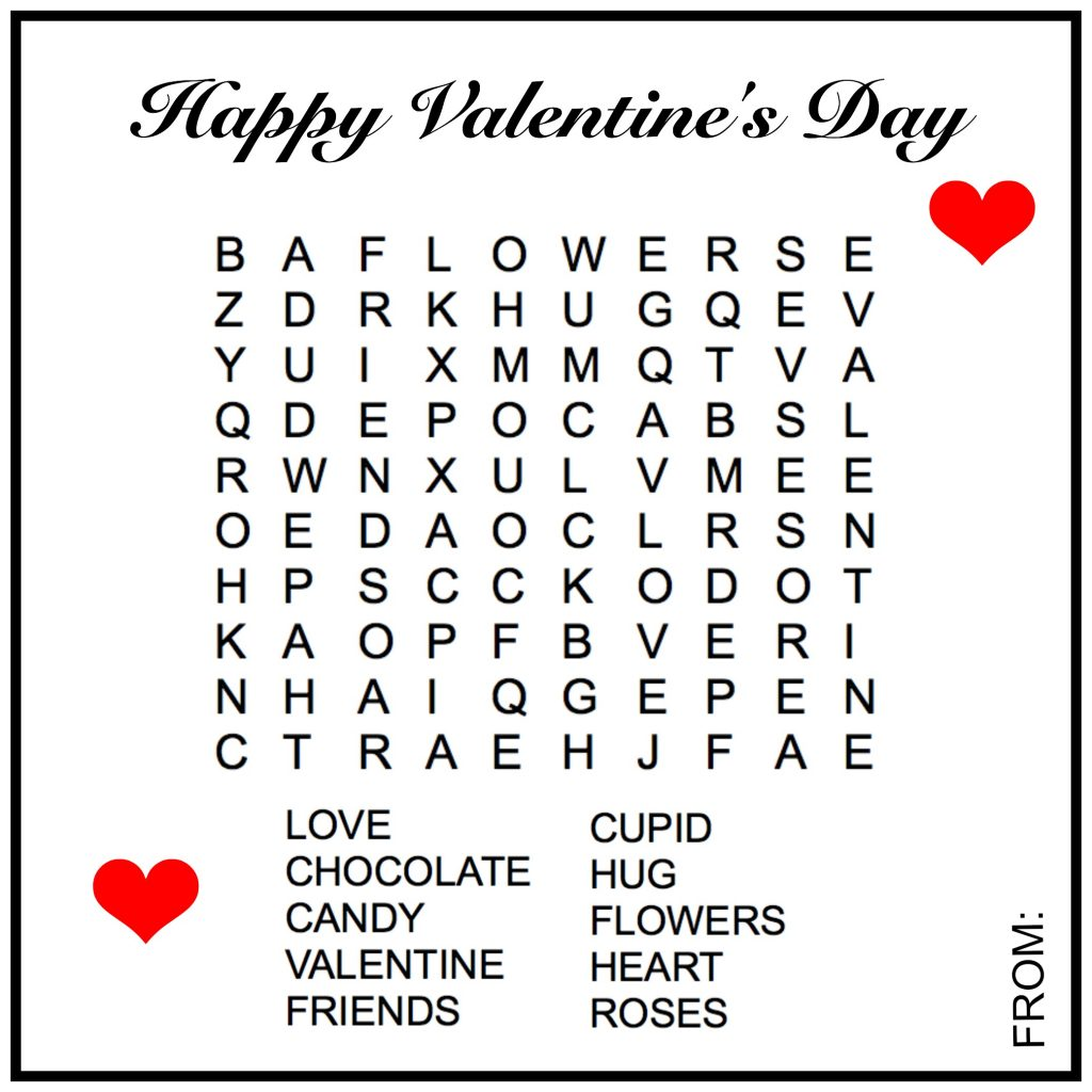 Happy Valentines Word Search