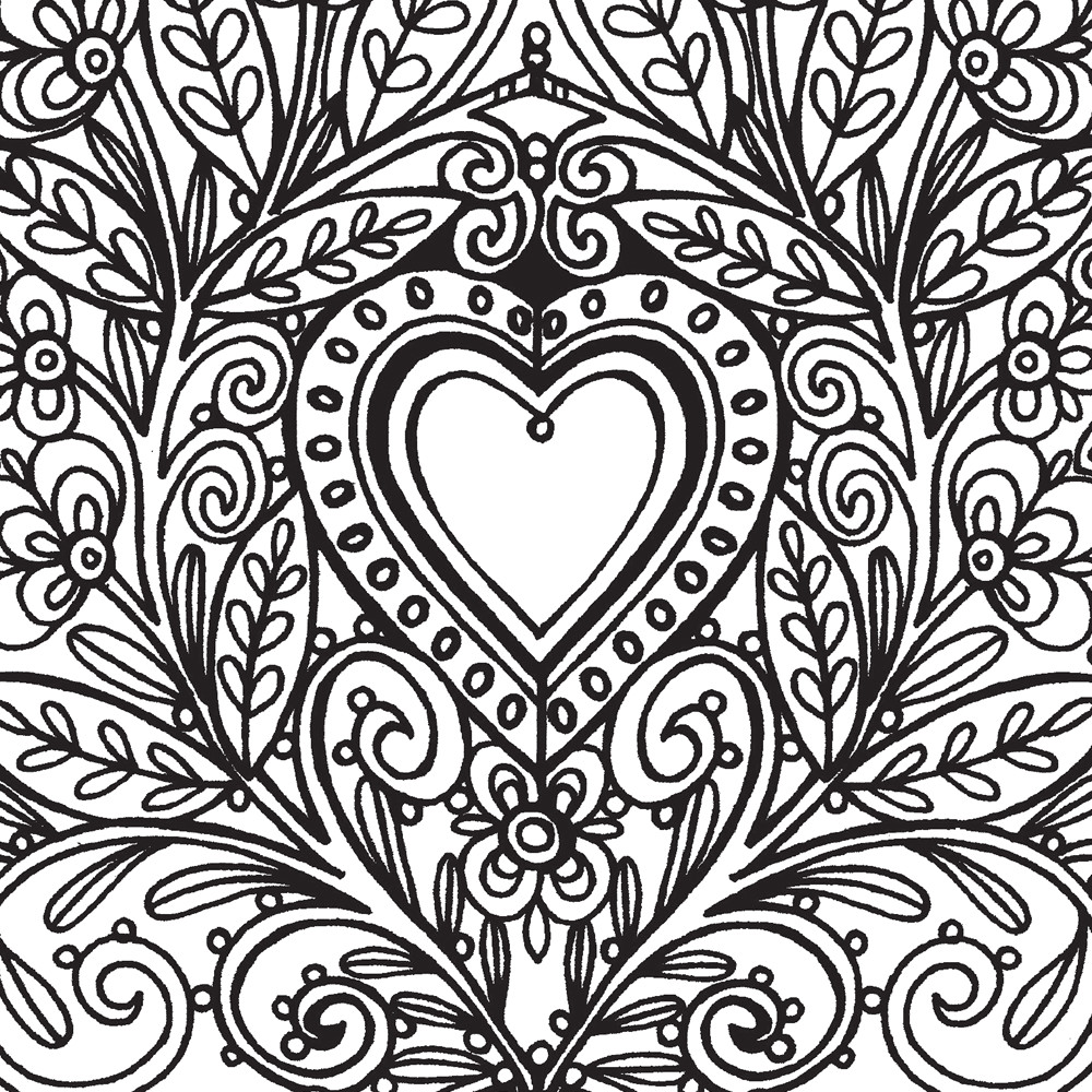 Hard Coloring Pages for Adults Hearts