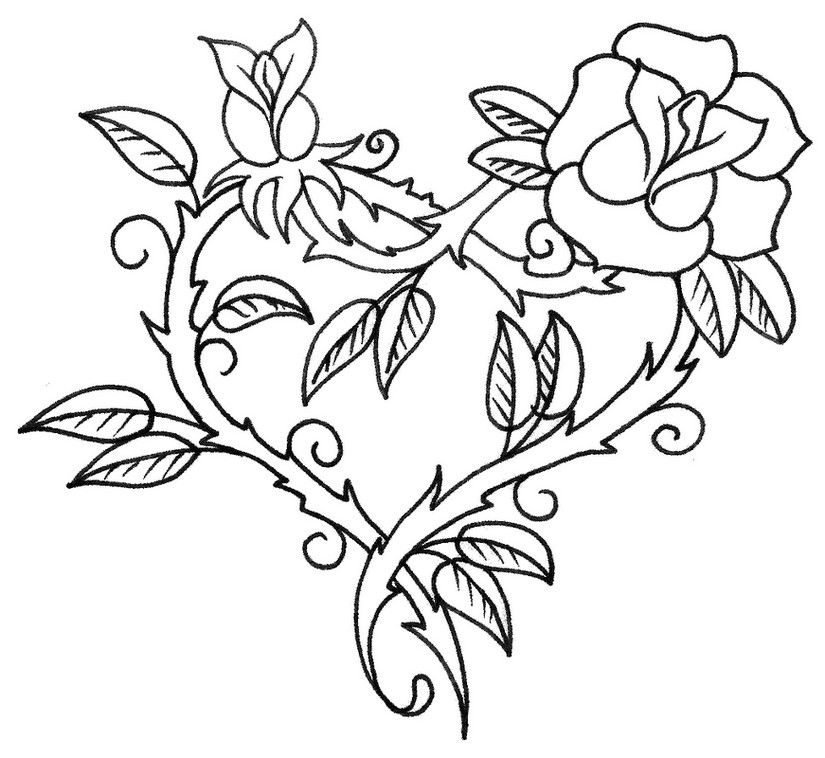 Heart Rose Coloring Page
