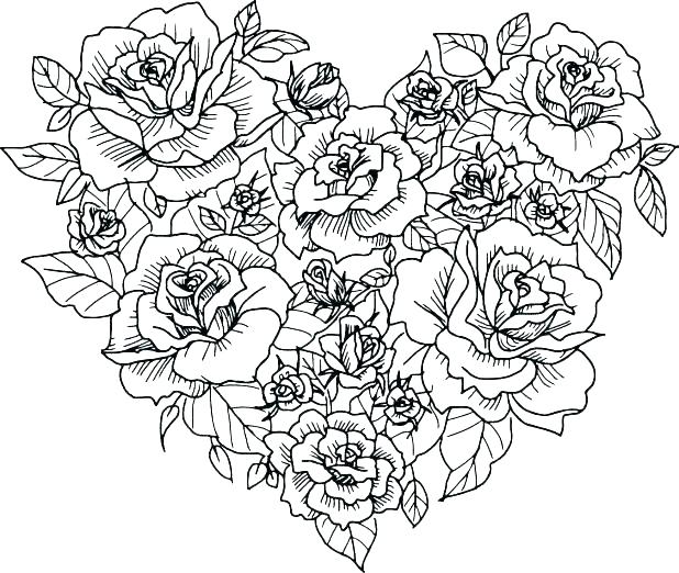 Heart of Roses Coloring Pages