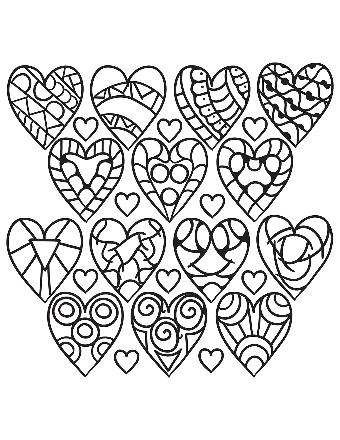 Fabulous image with printable hearts to color
