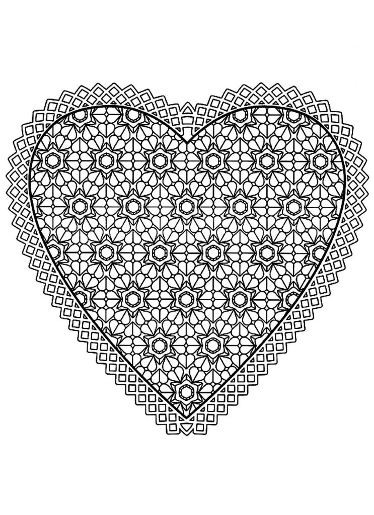Hearts Pattern Coloring Pages for Adults