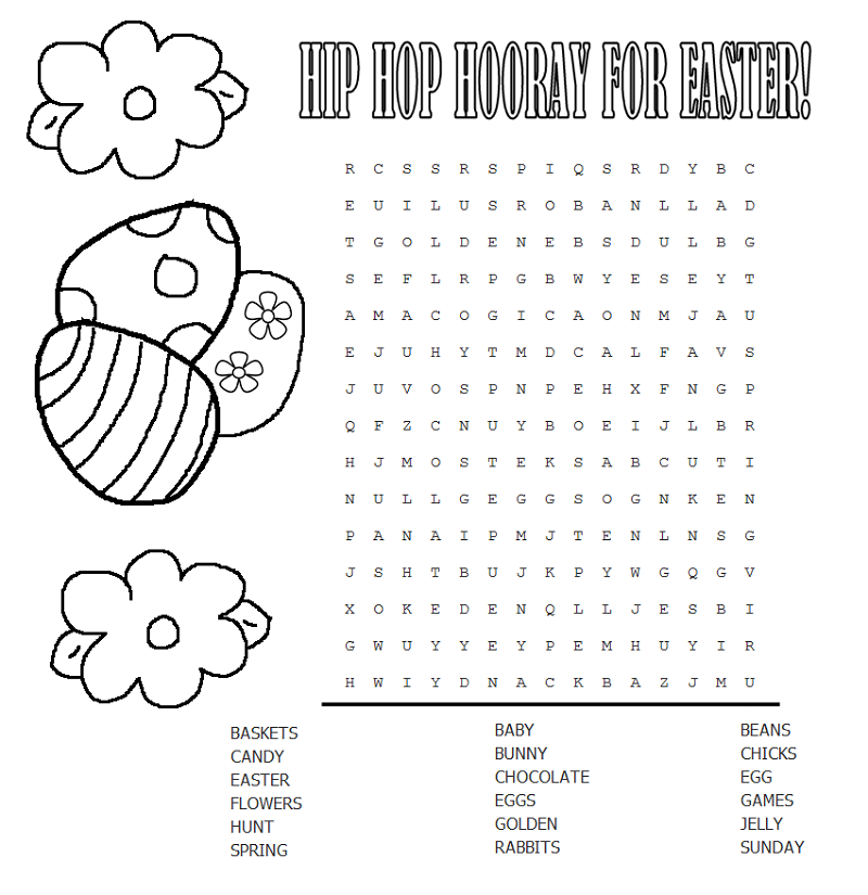 Hip Hop Easter Word Search