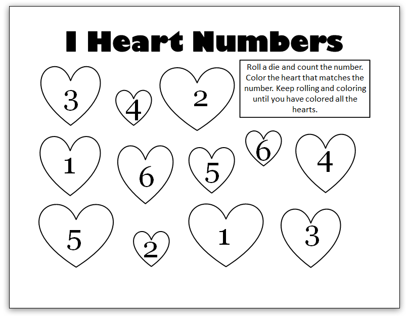 I Heart Numbers Valentines Worksheets