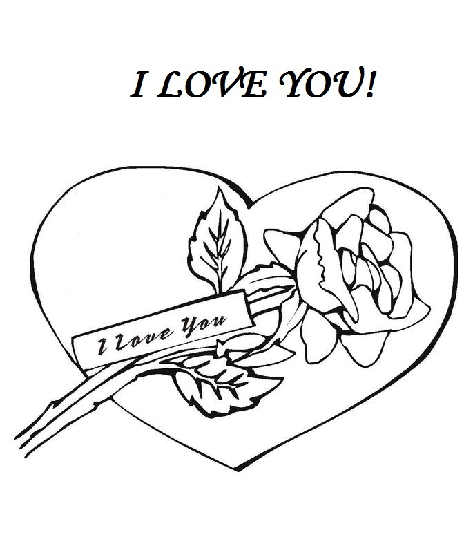 I Love You Roses and Hearts Coloring Pages